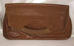 Tan Leather fold over clutch