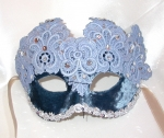 Guipure lace & blue velvet mask