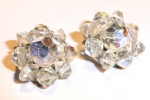 Small aurora crystal cluster earrings
