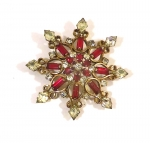 1940's Ruby Red Brooch