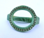 Deco Green Scarf Ring