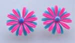 Turquoise & Pink Floral Earrings
