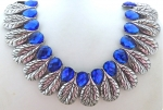 Bright Blue & Silver Leaf Collar