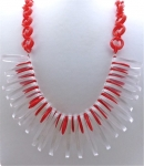 Orangey Red & Clear Lucite Necklace